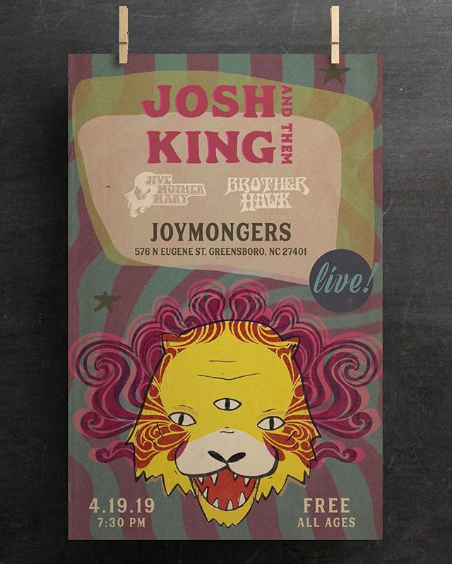 Poster we made for the crazy talented @joshkingnc ✨ Show is this Friday at @joymongersbeer you don't want to miss it!
