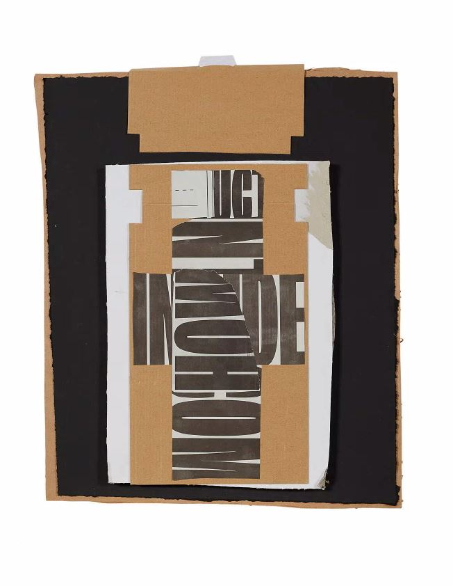 Untitled #5  Cardboard, matte black paper, found text and archival glue.  Framed 56 x 66 x 6 cm