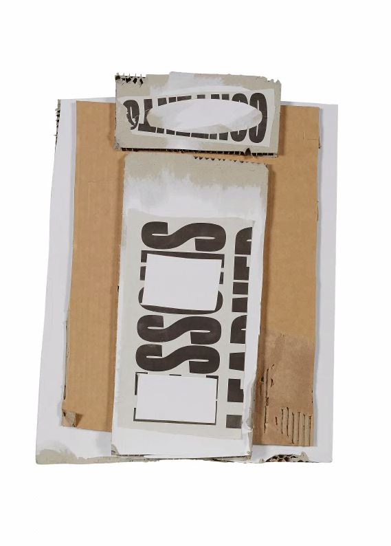 Untitled #4  Cardboard, found text and archival glue.  Framed 56 x 66 x 6 cm