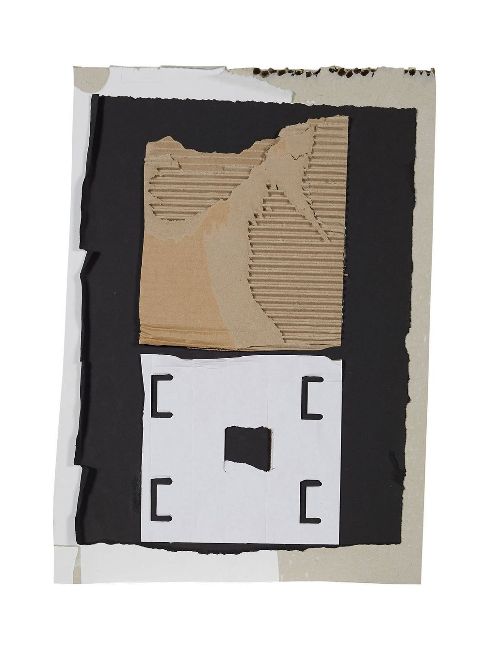 Untitled #2  Cardboard, matte black paper and archival glue.  Framed 56 x 66 x 6 cm