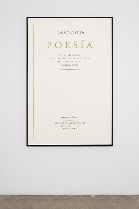 Jorge Mendez Blake, Jose Gorostiza. Poetry. 1939 Ð 2017 / Jose Gorostiza. Poesia. 1939 - 2017, 2017, Pencil and colored pencil on cotton paper, 59.5 x 40 inches (framed)