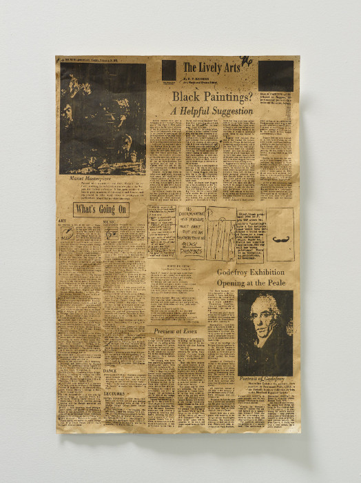 Fiona Connor, Broadsheet featuring Anne Truitt in the News American, 1975, #2, 2017, silkscreen and pigment on coated aluminum foil, 22.25 x 14.375 inches.