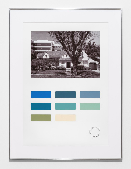 Fiona Connor, Color Census, 6211 Warner Drive, Los Angeles, 2016-2017, digital print on photo paper, painted color samples, 29.5 x 22.25 inches (framed).