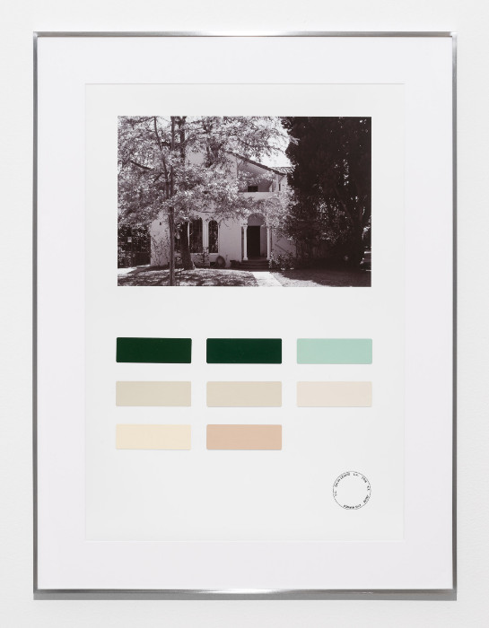 Fiona Connor, Color Census, 6112 Warner Drive, Los Angeles, 2016-2017, digital print on photo paper, painted color samples, 29.5 x 22.25 inches (framed).