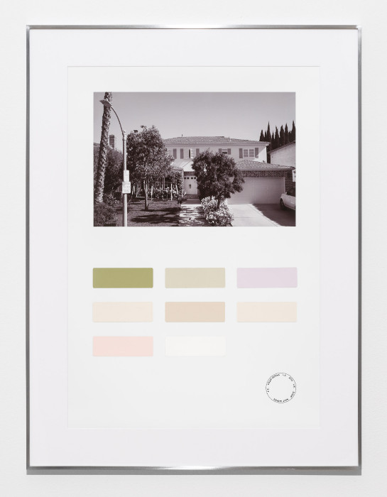 Fiona Connor, Color Census, 6247 Warner Drive, Los Angeles, 2016-2017, digital print on photo paper, painted color samples, 29.5 x 22.25 inches (framed).