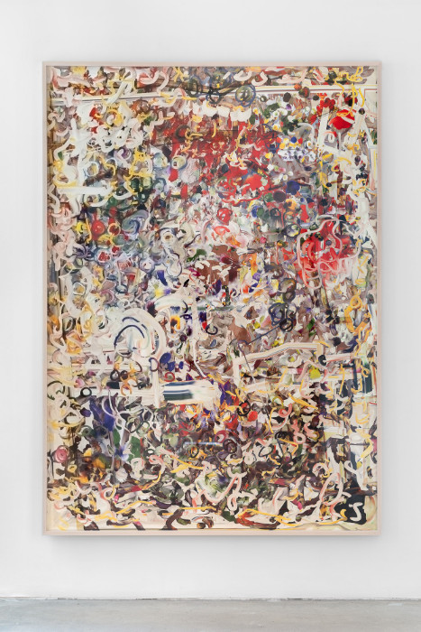 Petra Cortright, man_bulbGRDNopenz@CharlezSchwaabSto9ds, 2016, digital painting on Sunset Hot Press Rag paper, 82 3/8 x 59 inches (framed). Installation view 1301PE.