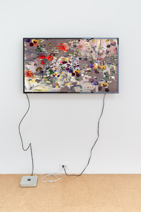 Petra Cortright, bollywood stars nude_creatine Pyruvate, 2017, digital video, 28 1/4 x 49 inches (monitor). Installation view 1301PE.