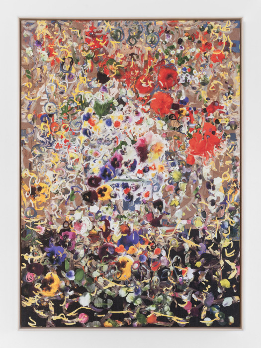 Petra Cortright, dohayme_cuzHARTsurgeonCaughtdead...wif.hotPump, 2016, digital painting on Belgian linen, 62 1/4 x 44 3/4 inches (framed)