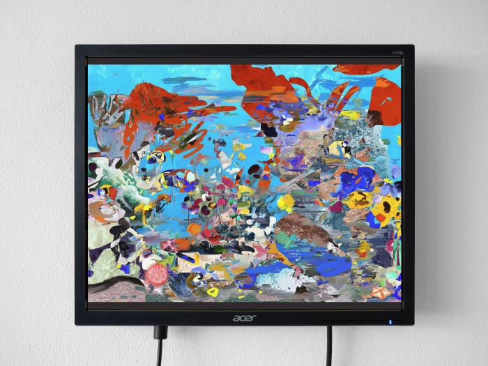 Petra Cortright, Tropic Fish-invert-painting, 2017, flash animation, 13 1/2 x 16 inches (monitor)