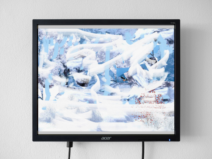 Petra Cortright, Winter in Mountain[0]5d_painted_version_with_transparency_strip, 2017, flash animation, 13 1/2 x 16 inches (monitor)