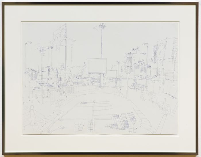 Fiona Connor, Taksim Square , 2013, ink on paper, 19.49 x 27.32 inches (image), 49.5 x 69.4 cm, 27.01 x 34.72 x 1.18 inches (framed) 68.6 x 88.2 x 3 cm