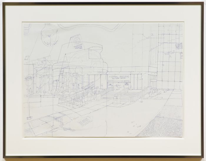Fiona Connor, Federal Building, 2015, ink on paper, 19.49 x 27.32 inches (image), 49.5 x 69.4 cm, 27.01 x 34.72 x 1.18 inches (framed) 68.6 x 88.2 x 3 cm
