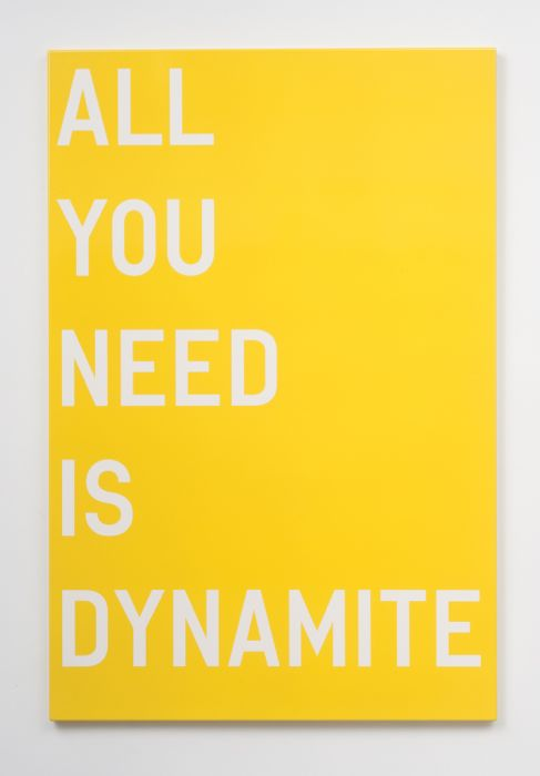 Rirkrit Tiravanija, Untitled (all you need is dynamite), 2011, enamel on steel, 48 x 32 inches, 121.9 x 81.3 cm