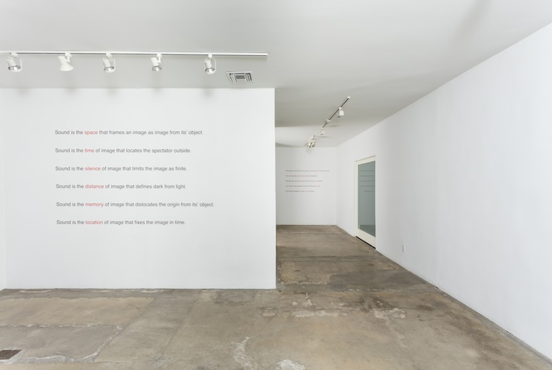 "Jack Goldstein ""Burning Window and Aphorisms"" installation view"