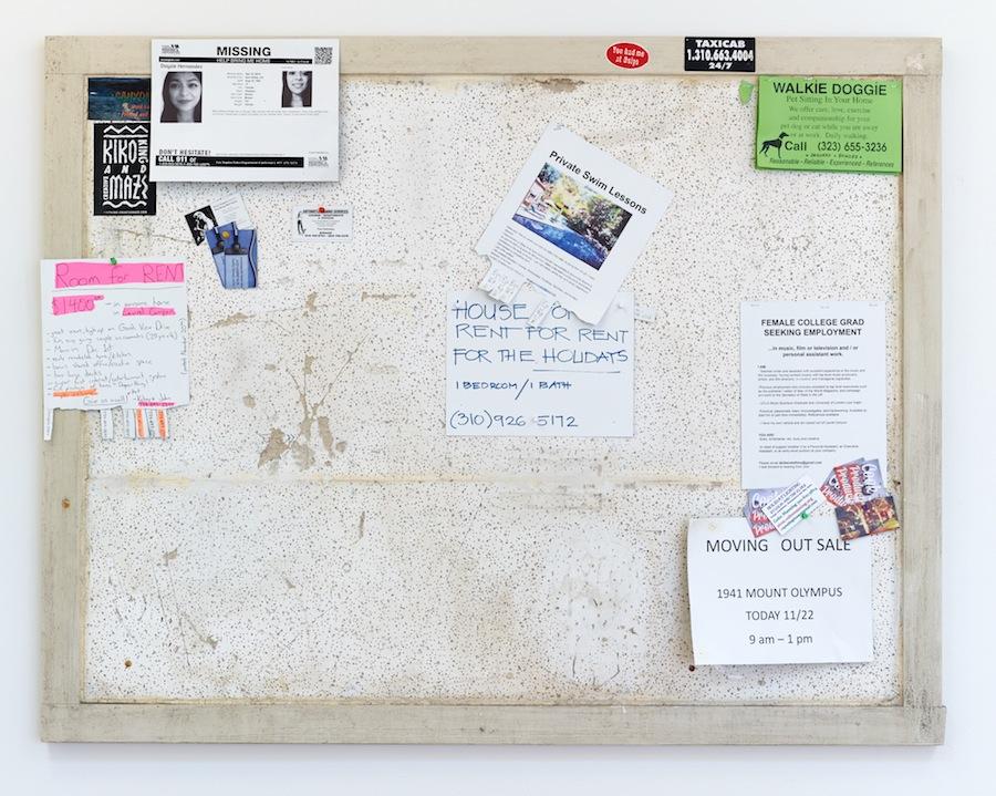Fiona Connor, Community Notice Board (Laurel), 2015. Installation view 1301PE.