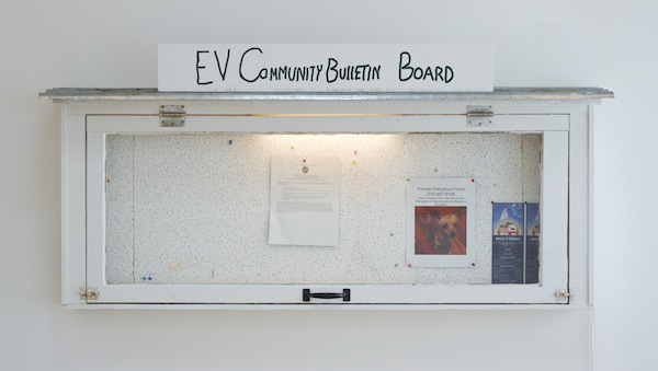Fiona Connor, Community Notice Board (Frogtown), 2015. Installation view 1301PE.