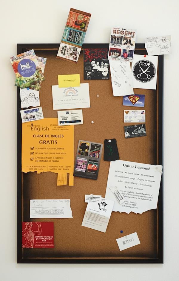 Fiona Connor, Community Notice Board (Pizza), 2015. Installation view 1301PE.