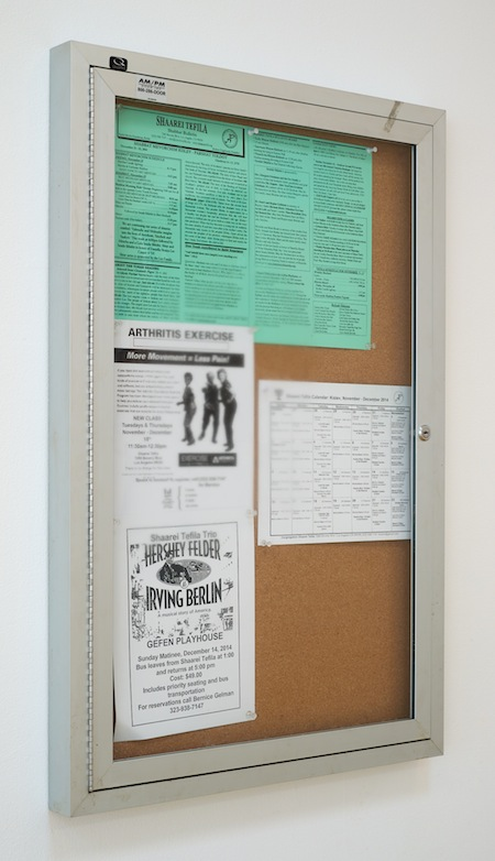 Fiona Connor, Community Notice Board (Synagogue), 2015. Installation view 1301PE.