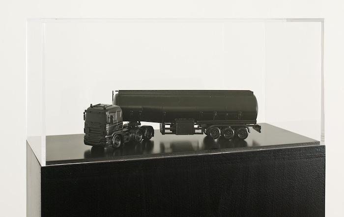 Rirkrit Tiravanija and Superflex Iraqi Oil Truck (Blackout Version), 2013, plastic truck, black paint, 9.84 x 9.84 x 15.75 in.