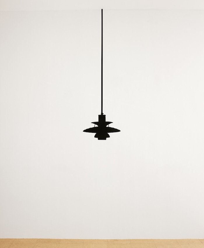 Rirkrit Tiravanija and Superflex Supercopy / Biogas PH5 Lamp (Blackout Version), 2013, black paint on wall, 11.1 x 19.7 in., edition of 50