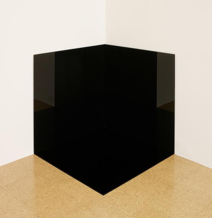 Rirkrit Tiravanija and Superflex Xxxxxx Xxxxx / Corner (Blackout Version), 2013, black mirror film on glass, 36.02 x 36.02 x 36.02 in.
