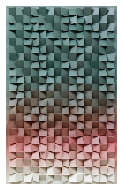 Jan Albers, thrEEhundrEdtwEntytwOupanddOwn, 2014, spray paint on polystyrene & wood, 94.48 x 59.05 x 5.11 in, 240 x 150 x 13 cm
