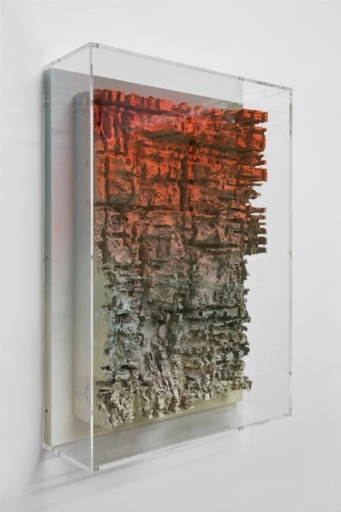 Jan Albers, finEartmassacrE, 2013, spray paint on polystyrene & wood, 27.56 x 19.69 x 6.3 in, 70 x 50 x 16 cm