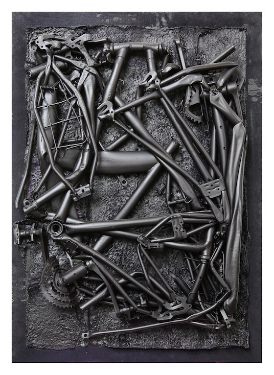 Jan Albers, bikeblackbender, 2014, spray paint on polystyrene & steel, 42.91 x 31.10 x 6.29 in, 109 x 79 x 16 cm