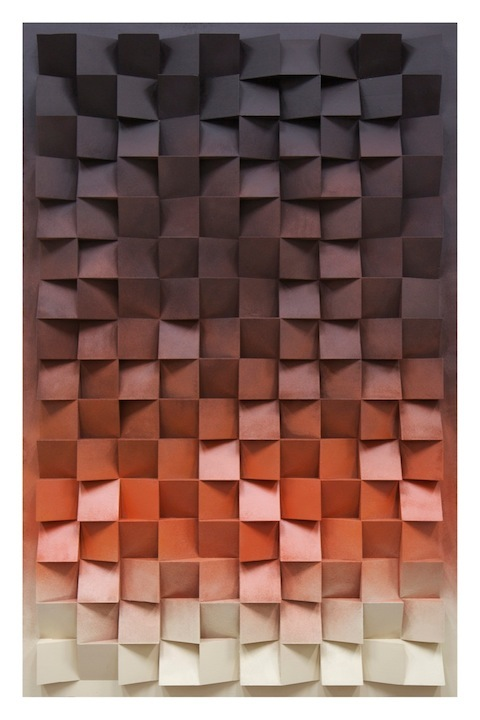 Jan Albers, hunDreDsixtyupanDDownfromDusktillDawn, 2014, spray paint on polystyrene & wood, 67.32 x 43.30 x 5.11 in, 171 x 110 x 13 cm