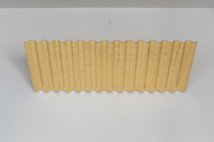 Ann Veronica Janssens, Tropical Paradise, 2006, corrugated aluminum structure gilded with gold leaf 23 3/4 carats, 66 x 110 x 4 cm, edition 1 of 1, 1