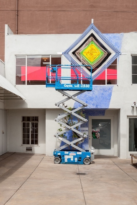 Jessica Stockholder, Lift Series, 2013, Chalk, acrylic paint, scissor lift, godseye, dimensions variable