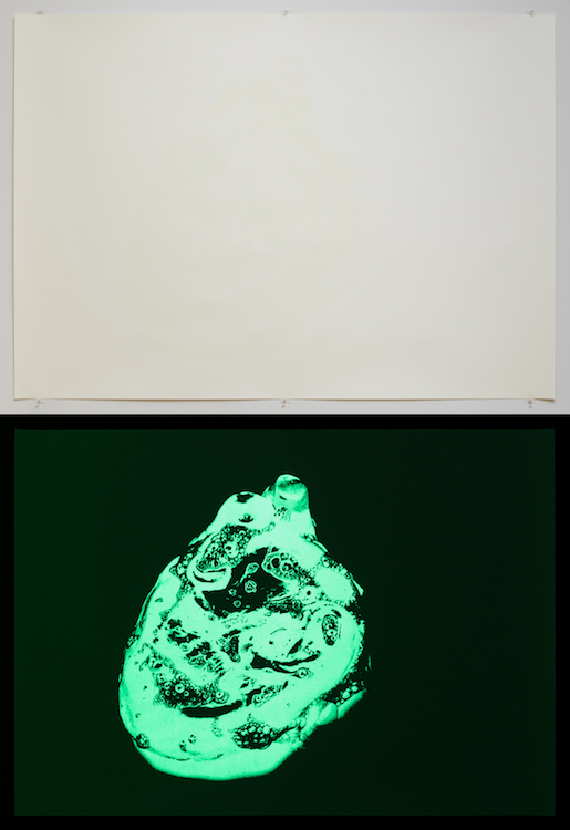 Philippe Parreno, Heart in Soap, 2006, 2013, Screenprint, printed in phosphorescent ink, 39.5 x 55.5 inches, edition of 6