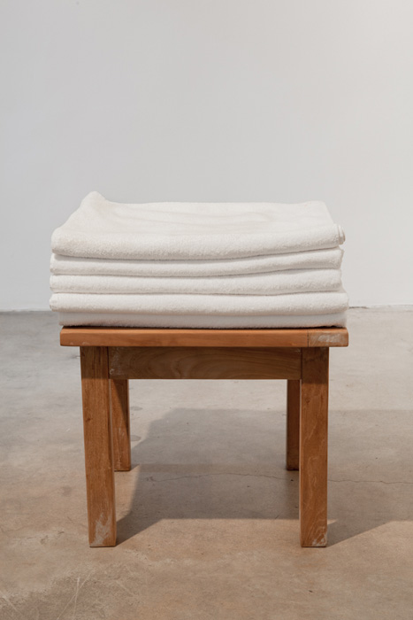 Fiona Connor, Object No. 1, Bare Use (towel stack on small table), 2013, mixed media, 23 x 19.75 x 19.75 inches, 58.4 x 50.2 x 50.2 cm