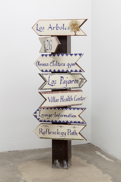 Fiona Connor, Object No. 3, Bare Use (small ceramic signpost), 2013, mixed media, 48 x 18 x 14.25 inches, 121.9 x 45.7 x 36.2 cm