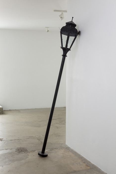 Fiona Connor, Object No. 4, Bare Use (lamp), 2013, mixed media, 91 x 14 x 14 inches, 231.1 x 35.6 x 35.6 cm