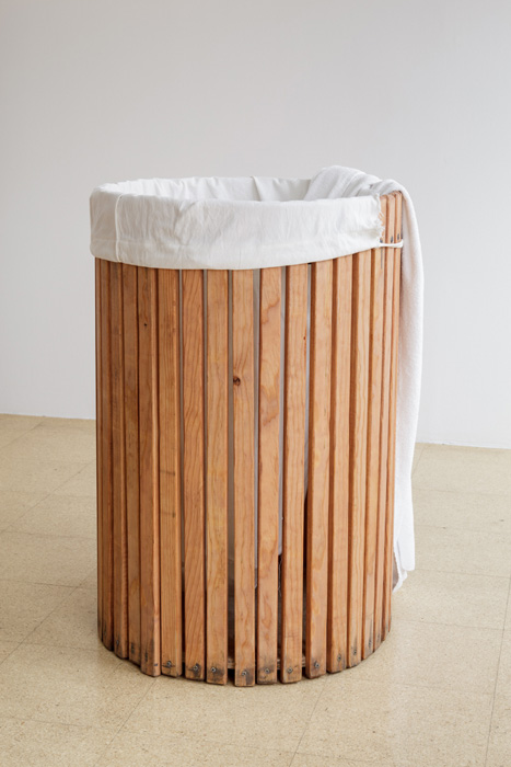 Fiona Connor, Object No. 11, Bare Use (towel bin), 2013, mixed media, 35 x 23.5 x 23.5 inches, 88.9 x 59.7 x 59.7 cm