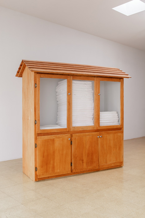 Fiona Connor, Object No. 13, Bare Use (towel cabinet), 2013, mixed media, 70.5 x 71 x 30.5 inches, 179.1 x 180.3 x 77.5 cm