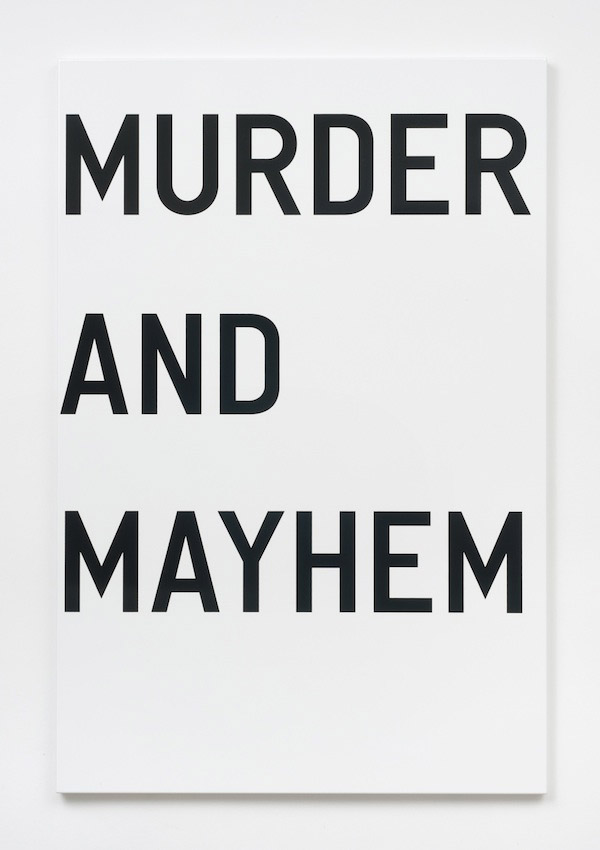 Rirkrit Tiravanija, untitled (murder and mayhem), 2011, enamel on steel, 48 x 32 inches, 121.9 x 81.3 cm.