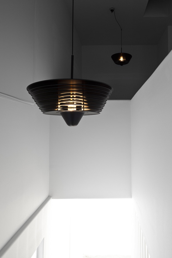 SUPERFLEX & Simon Starling, Black Out (lamps installation view), 2009 Aluminium, paint, electrical cord 20 x 20 x 9 inches