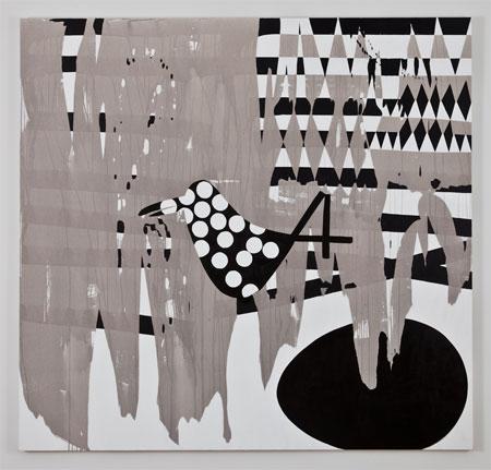 Charline von Heyl, Flagbird, 2011, Acrylic on linen, 82 x 86 inches, 208.3 x 218.4 cm