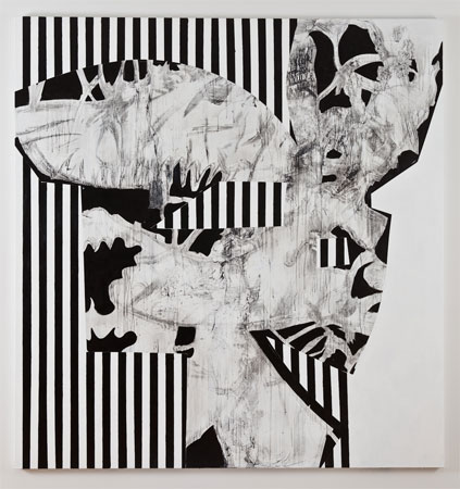 Charline von Heyl, Hibou Habibi, 2011, Acrylic and charcoal on linen, 82 x 78 inches, 208.3 x 198.1 cm