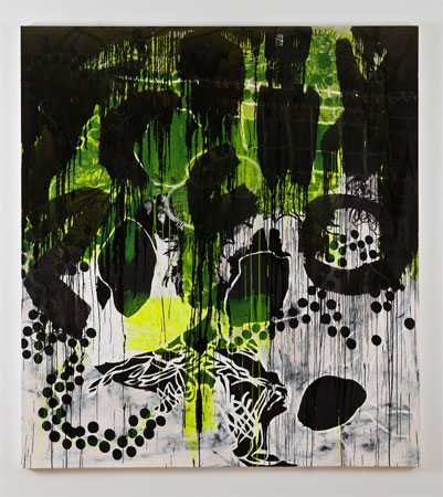 Charline von Heyl, Oread, 2011, Acrylic, charcoal, oil and oilstick on linen, 82 x 74 inches, 208.3 x 182.9 cm