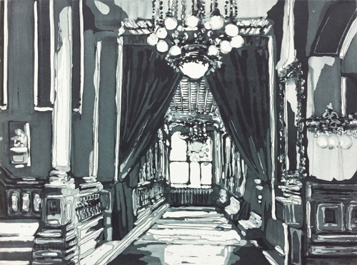 Kirsten Everberg, The Armory, NY (Corridor), Aquatint, etching on Somerset paper 300gr, 17.91 x 20.87 in.