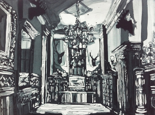 Kirsten Everberg, The Armory, NY (Field & Staff Room), Aquatint, etching on Somerset paper 300gr, 17.91 x 20.87 in.