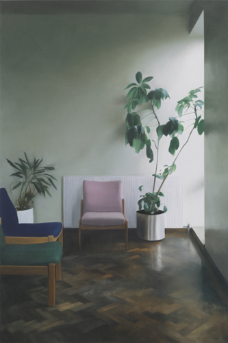 Paul Winstanley, Interior with Two Plants, 2010, Oil on linen, 44.88 x 29.92 in., 114 x 76 cm