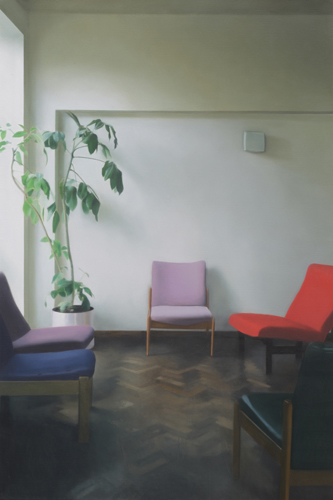 Paul Winstanley, Interior with a Tall Plant, 2010, Oil on linen, 44.88 x 29.92 in., 114 x 76 cm
