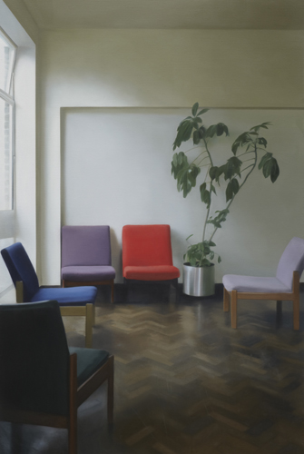 Paul Winstanley, Interior with Two Facing Chairs, 2010, Oil on linen, 44.88 x 29.92 in., 114 x 76 cm