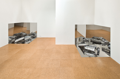 Rirkrit Tiravanija, Untitled (BBQ) (Installation view), 2010, Chromed stainless steel panels, barbeque, gas bottle, 3 x 3 x 3 ft