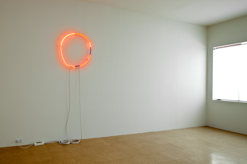Fiona Banner, Spell 2, 2002, Reconstructed neon sign, 36 1/4 x 35 1/2 x 3 in.