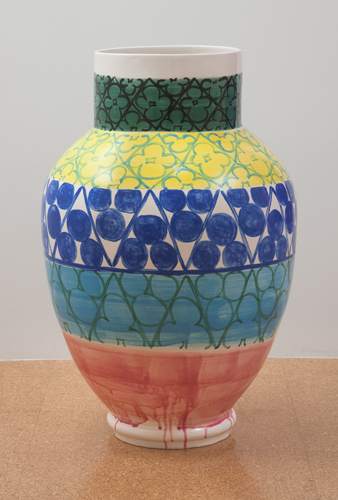 Judy Ledgerwood, Ceramic #1, 2010, Glazed ceramic, 36 x 19 x 19 in. (91.4 x 48.3 x 48.3 cm)